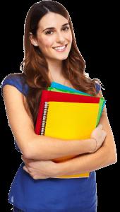 בחינה עם חומר בטוח - Young woman student with a book