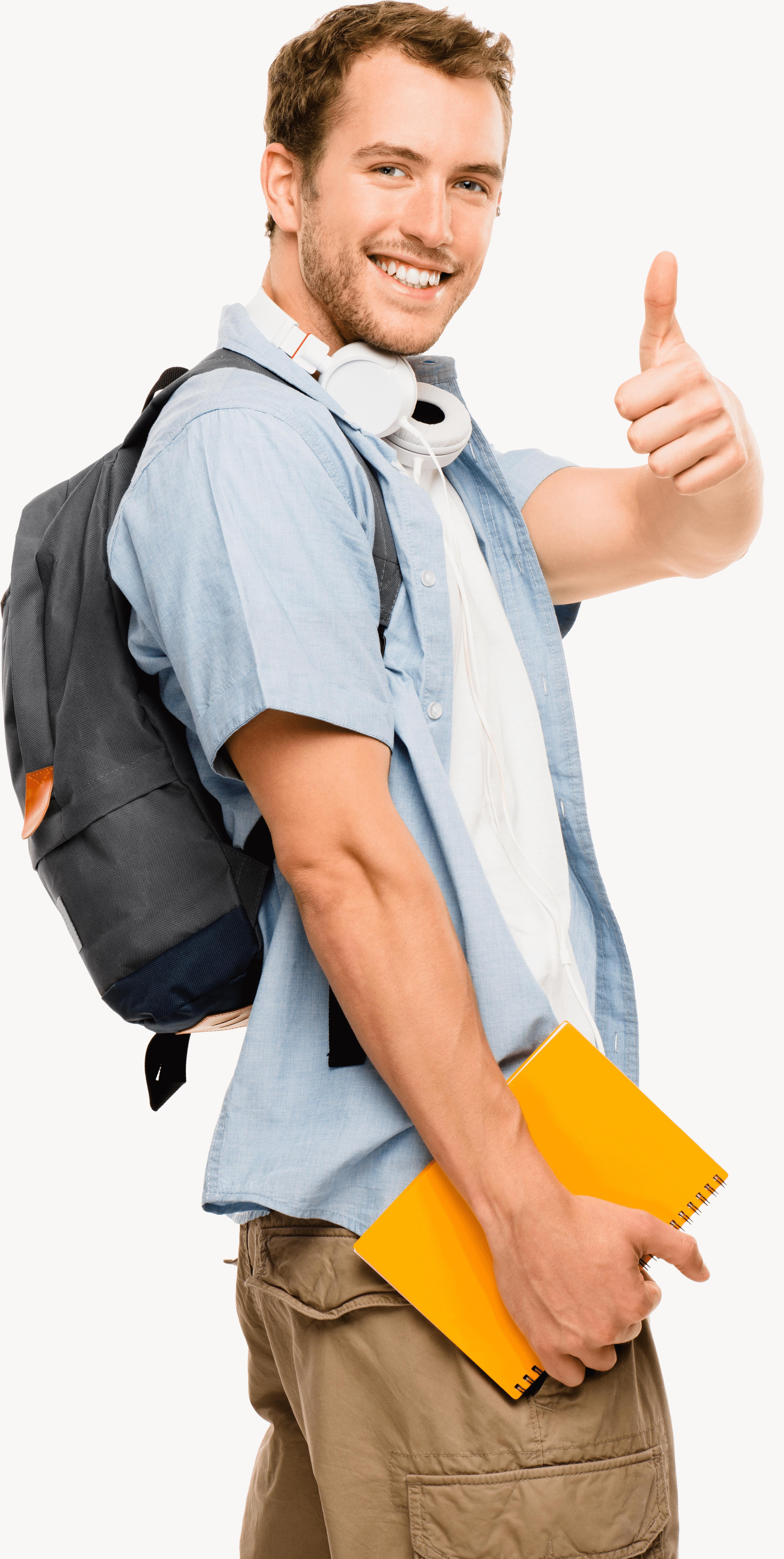 בחינה עם חומר בטוח -thumbs-up-student-happy