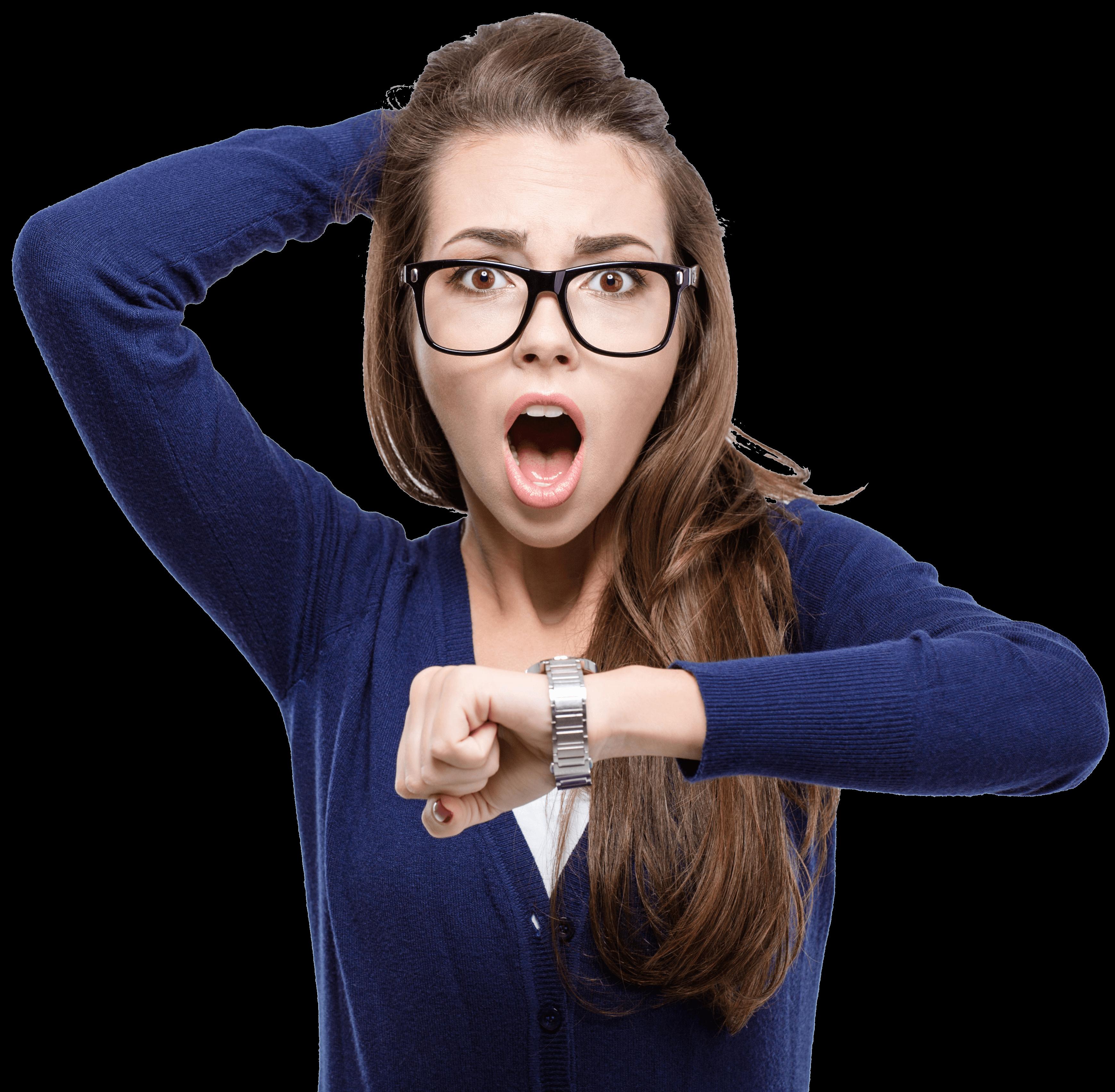 עניין של זמן - shocked young woman holding hand with wrist watch
