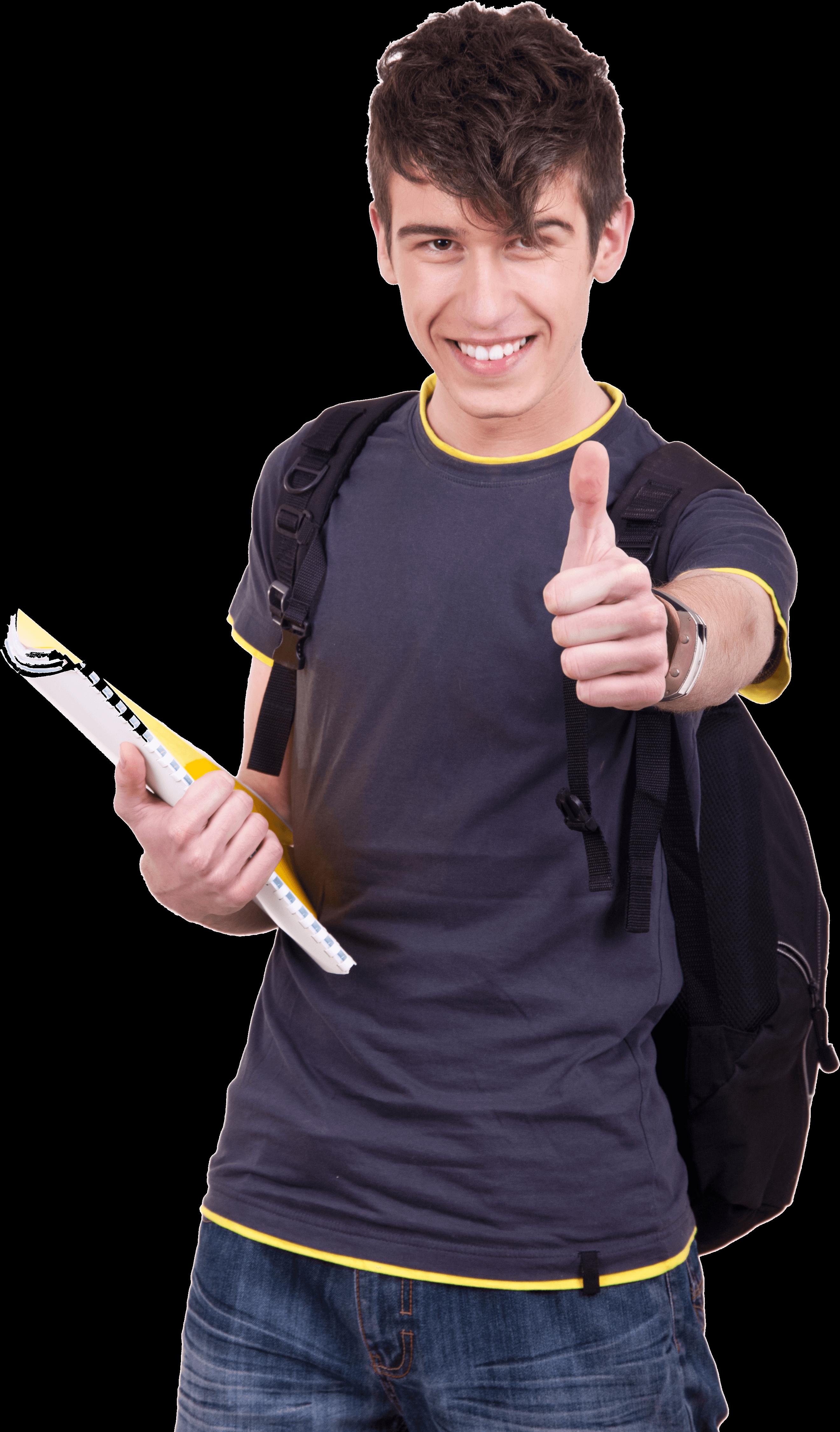 הכוח המניע - portrait-of-a-young-successful-student-holding-thumbs-up
